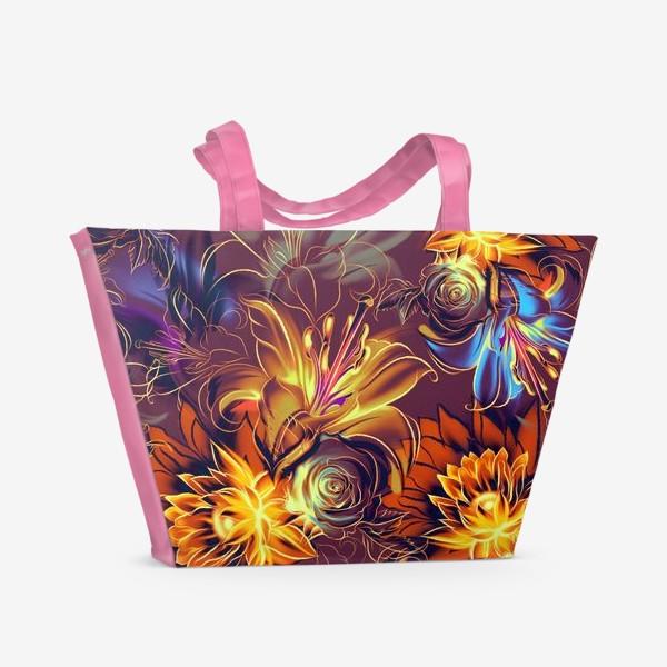 Пляжная сумка «Абстрактный бесшовный паттерн с цветами. Летняя текстура с лилиями, розами, ромашками и хризантемами»