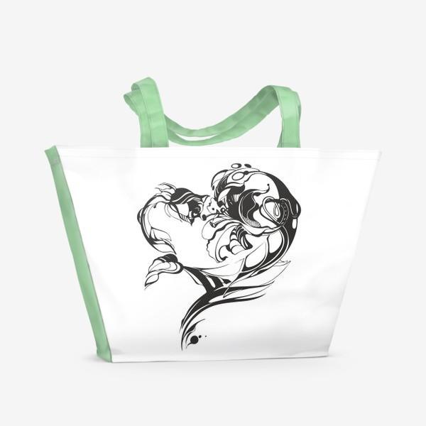 Пляжная сумка «Лилия и роза»