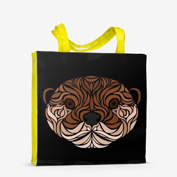 Сумка-шоппер «Тотемная Выдра на черном»