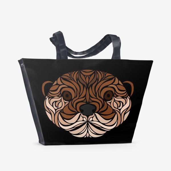 Пляжная сумка «Тотемная Выдра на черном»