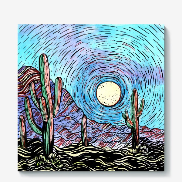 Холст «Пустынный пейзаж с кактусами»