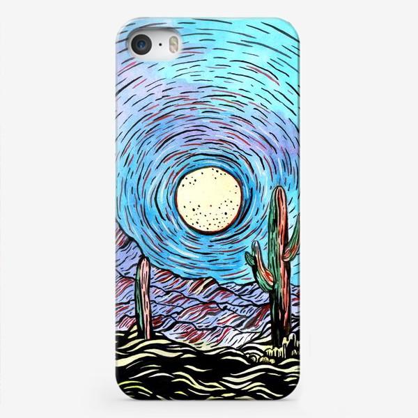Чехол iPhone «Пустынный пейзаж с кактусами»
