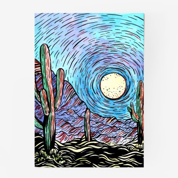 Постер «Пустынный пейзаж с кактусами»