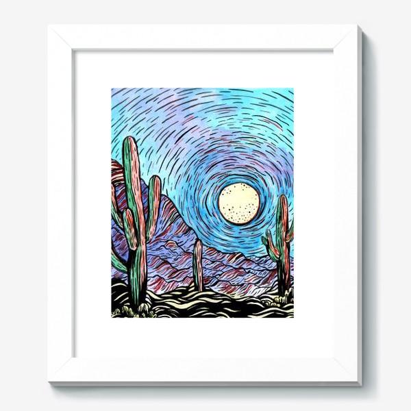 Картина «Пустынный пейзаж с кактусами»