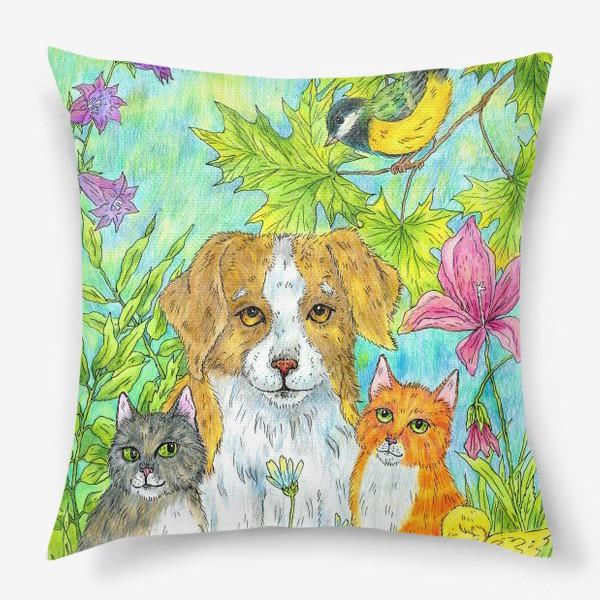 Подушка «Щенок и котята»