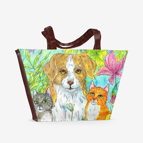 Пляжная сумка «Щенок и котята»