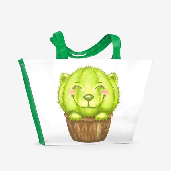Пляжная сумка «Кот кактус »