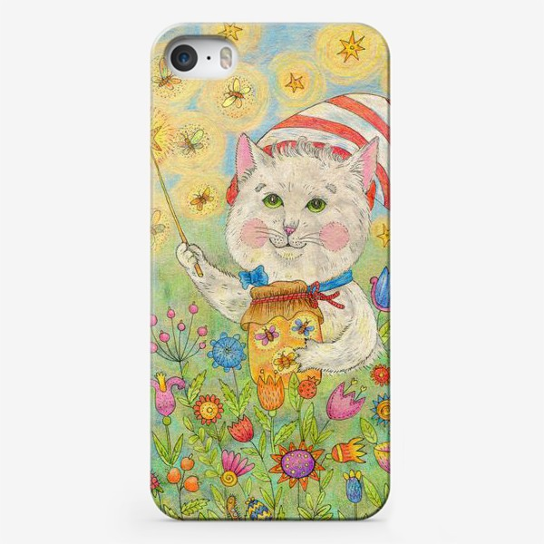 Чехол iPhone «Кот волшебник в сказочном саду»