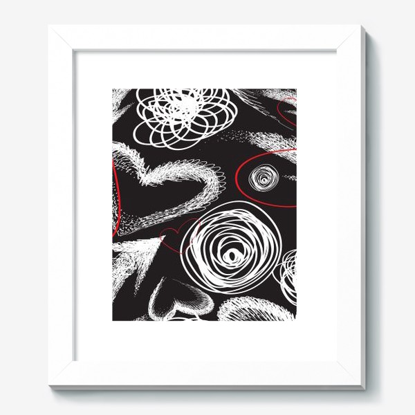 Картина «Текстура с дудлами, стрелками и сердечками»