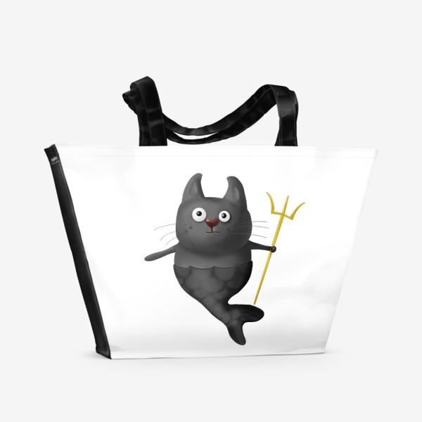 Пляжная сумка «Кот Рыба Зевс»