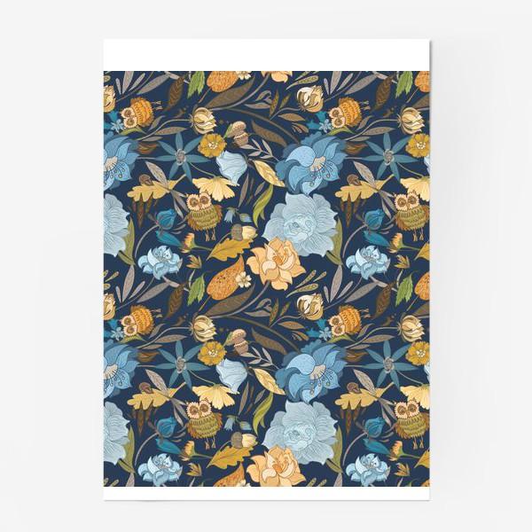 Постер «Лесной осенний паттерн с совами и голубыми цветами на синем фоне»