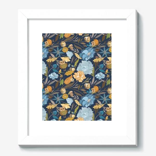 Картина «Лесной осенний паттерн с совами и голубыми цветами на синем фоне»
