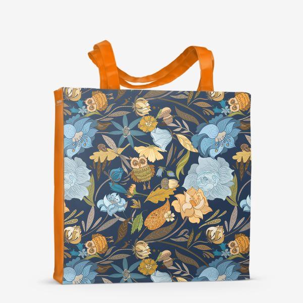 Сумка-шоппер «Лесной осенний паттерн с совами и голубыми цветами на синем фоне»