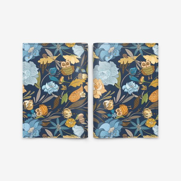 Обложка для паспорта «Лесной осенний паттерн с совами и голубыми цветами на синем фоне»