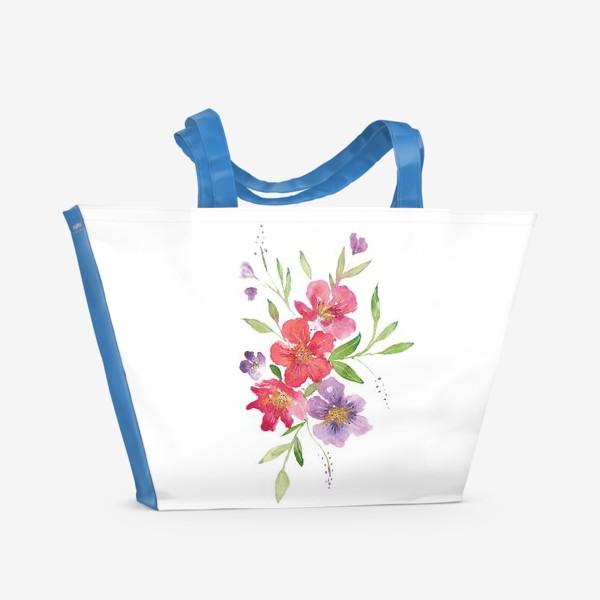Пляжная сумка «Букет из акварельных цветов»