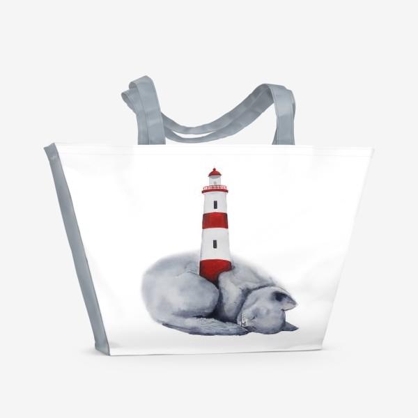 Пляжная сумка «Спящий кот и маяк»