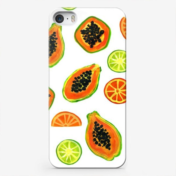 Чехол iPhone «Папайа и цитрусы, тропический паттерн»