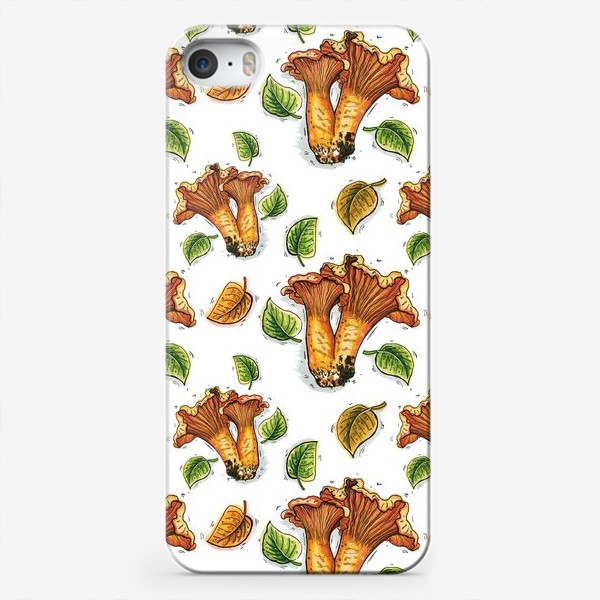 Чехол iPhone «Грибы лисички, паттерн»
