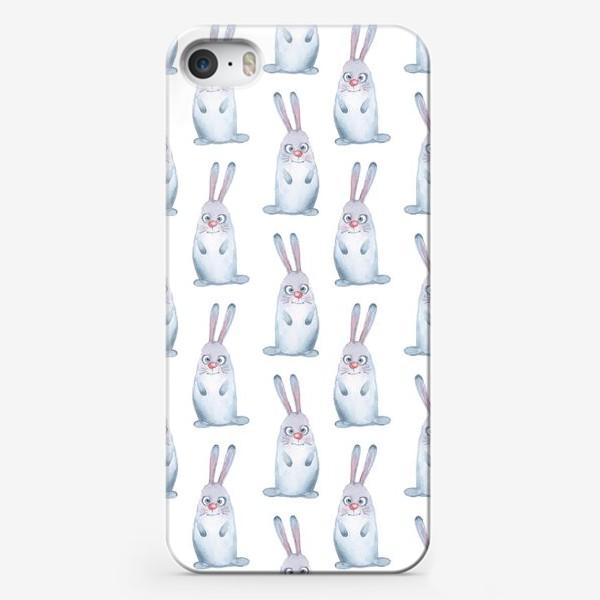 Чехол iPhone «Кролики. Акварельный паттерн»