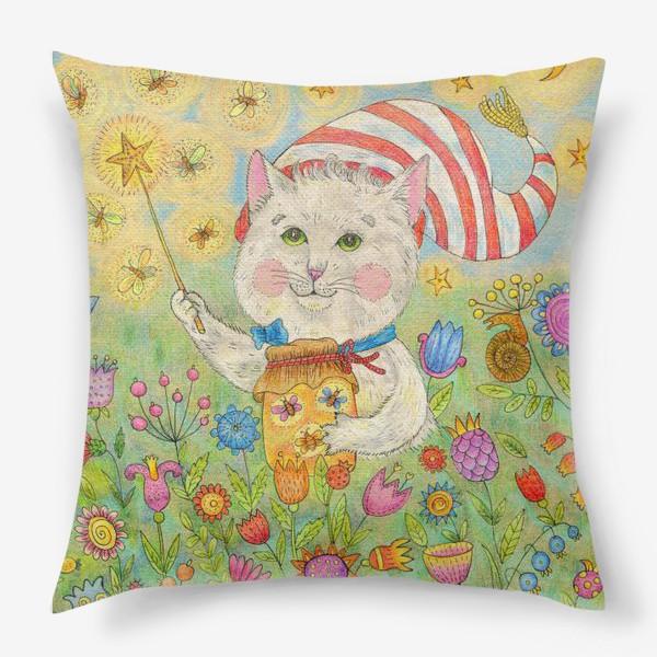 Подушка «Кот волшебник в сказочном саду»