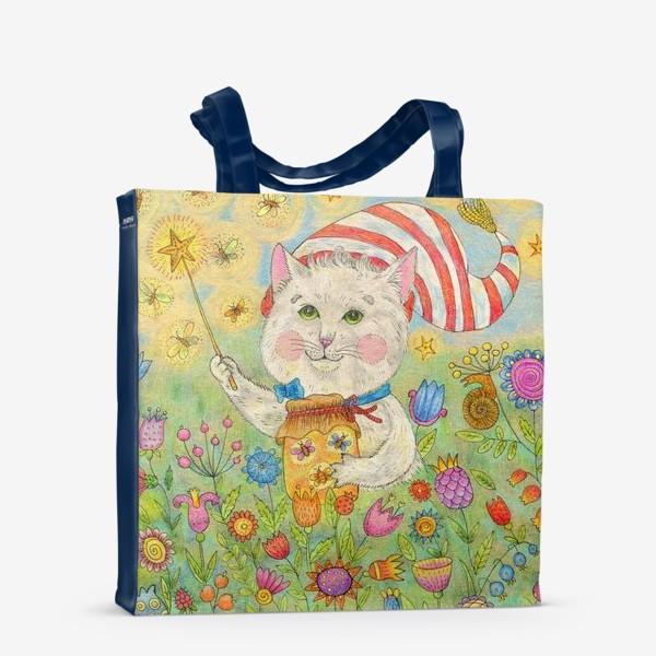 Сумка-шоппер «Кот волшебник в сказочном саду»