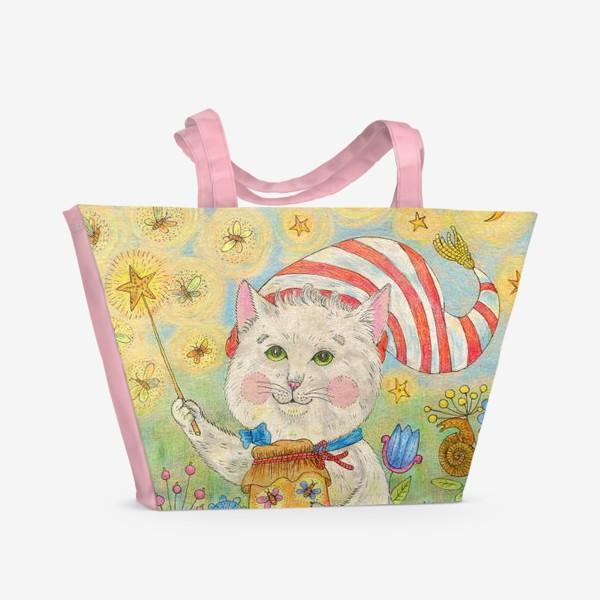 Пляжная сумка «Кот волшебник в сказочном саду»