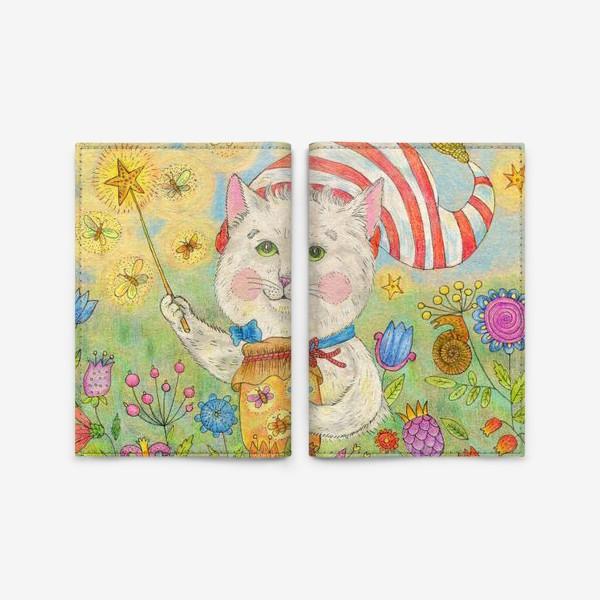 Обложка для паспорта «Кот волшебник в сказочном саду»