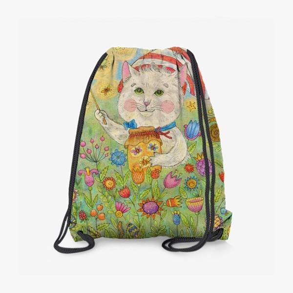 Рюкзак «Кот волшебник в сказочном саду»