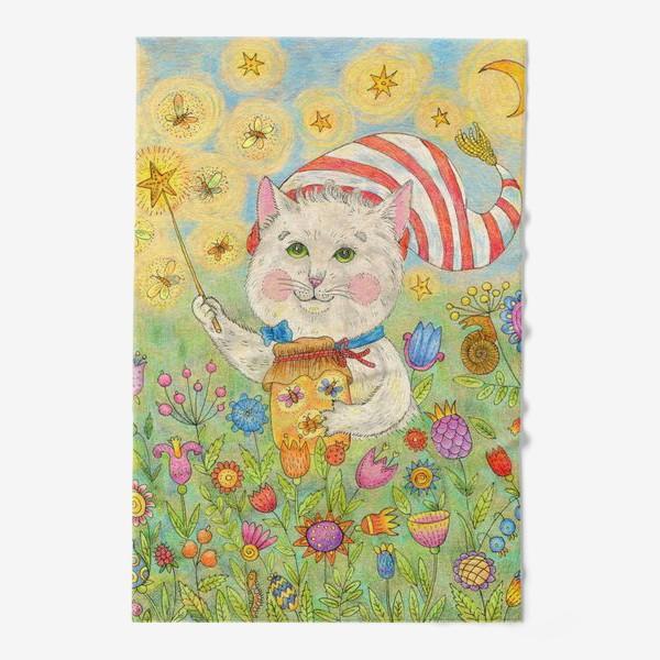 Полотенце «Кот волшебник в сказочном саду»