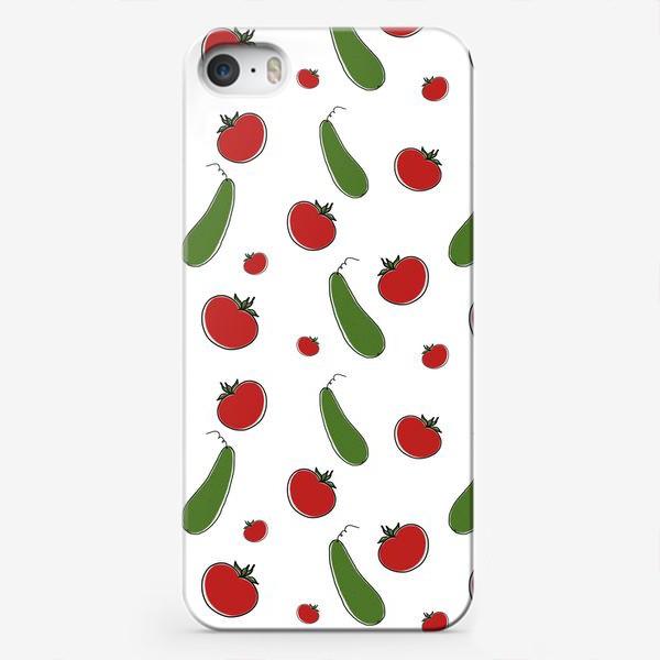 Чехол iPhone «Паттерн из томатов и огурцов »