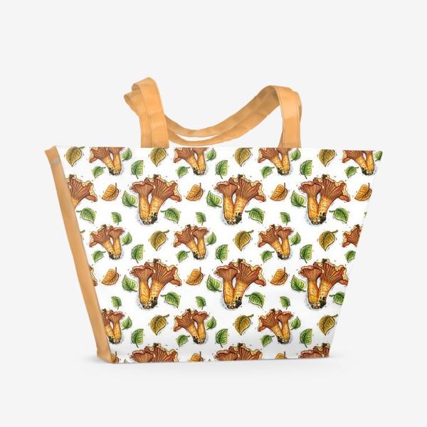 Пляжная сумка «Грибы лисички, паттерн»