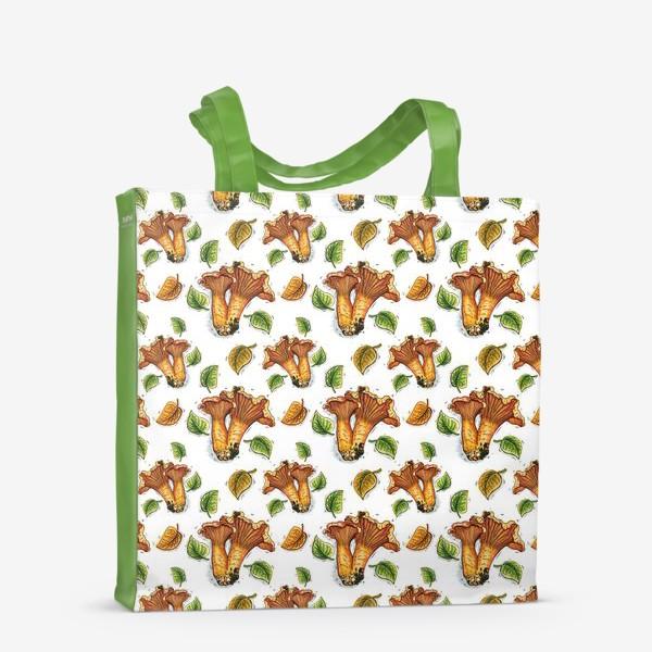 Сумка-шоппер «Грибы лисички, паттерн»