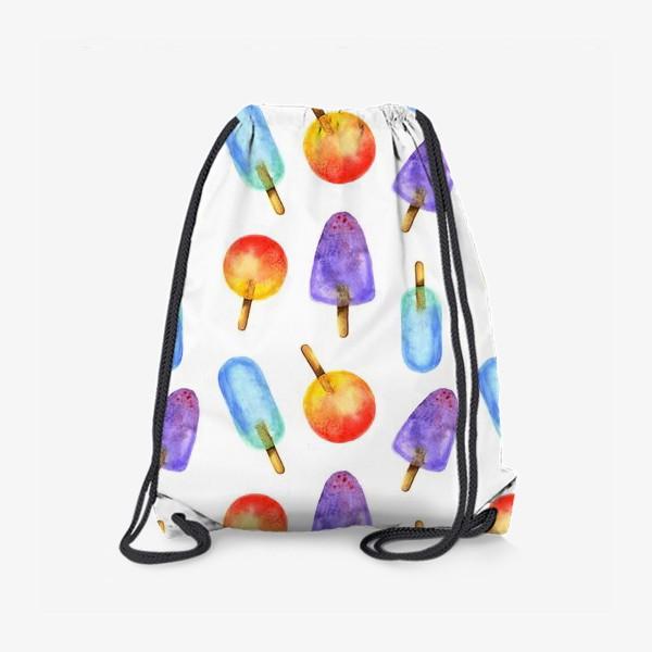 Рюкзак «Яркое мороженое на палочке, акварельный паттерн»