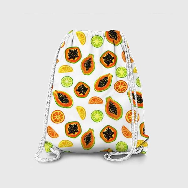 Рюкзак «Папайа и цитрусы, тропический паттерн»