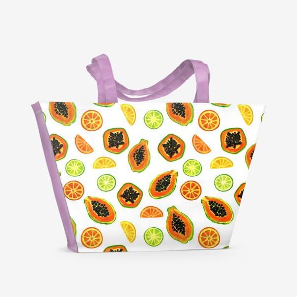 Пляжная сумка «Папайа и цитрусы, тропический паттерн»