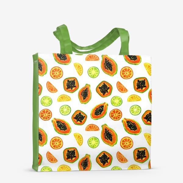 Сумка-шоппер «Папайа и цитрусы, тропический паттерн»