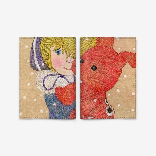 Обложка для паспорта «Варежка. Девочка и щенок»