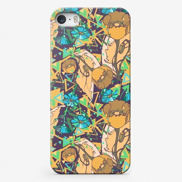 Чехол iPhone «Паттерн с желтыми маками»