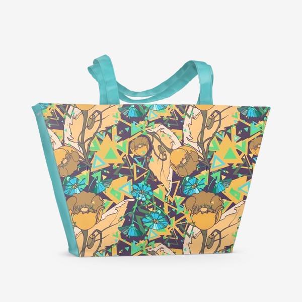 Пляжная сумка «Паттерн с желтыми маками»