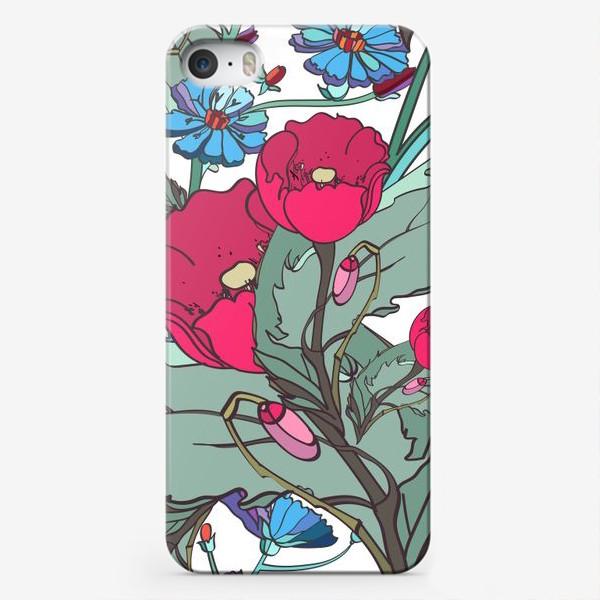 Чехол iPhone «Паттерн с маками и одуванчиками»