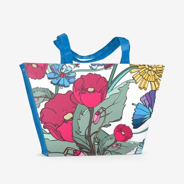 Пляжная сумка «Паттерн с маками и одуванчиками»