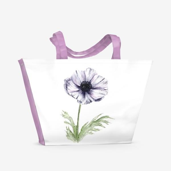 Пляжная сумка «Акварельный цветок анемон»