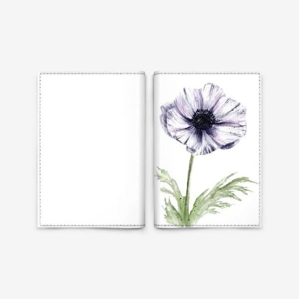 Обложка для паспорта «Акварельный цветок анемон»