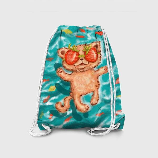 Рюкзак «кот клубника в море »