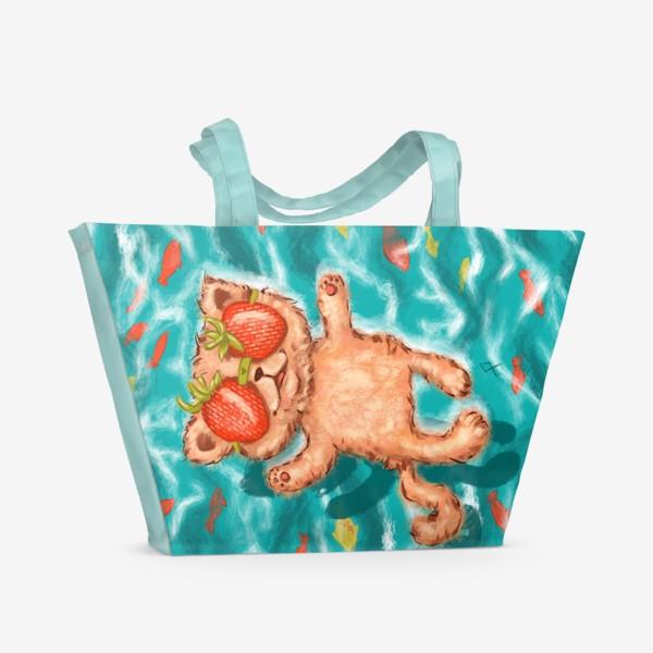 Пляжная сумка «кот клубника в море »