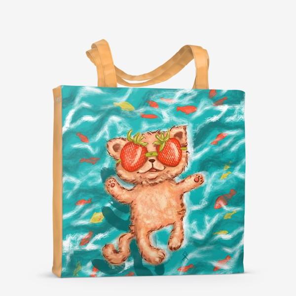 Сумка-шоппер «кот клубника в море »