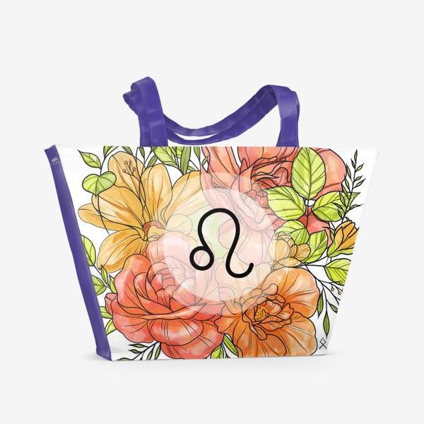 Пляжная сумка «Знак зодиака Лев цветочный »