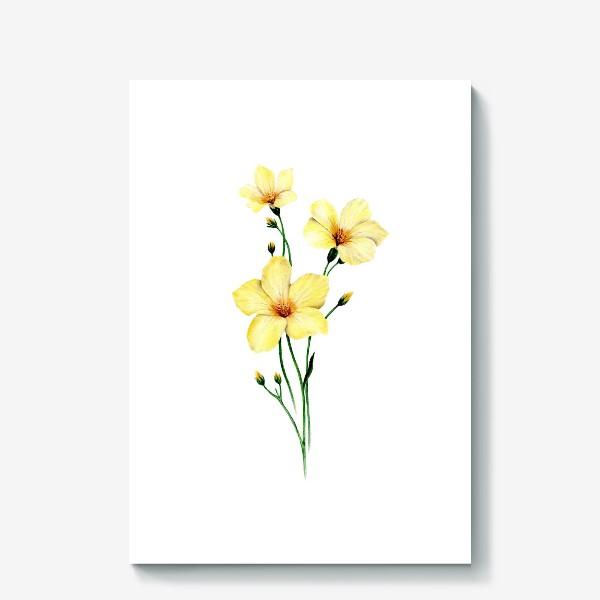 Холст «Желтые цветы ботаническая иллюстрация»