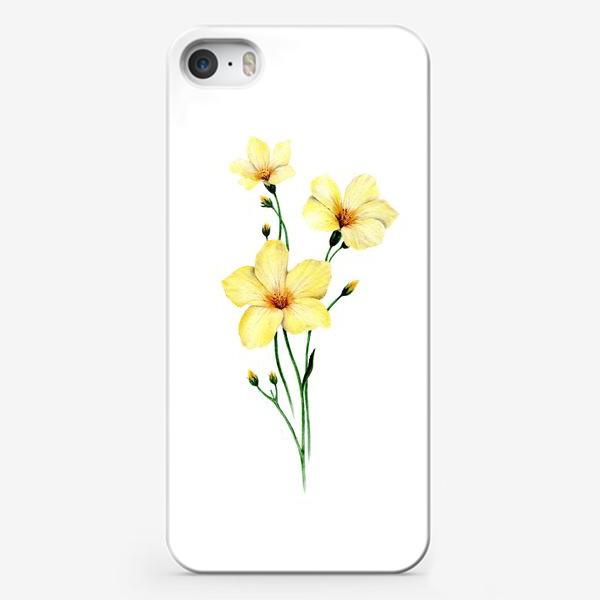 Чехол iPhone «Желтые цветы ботаническая иллюстрация»