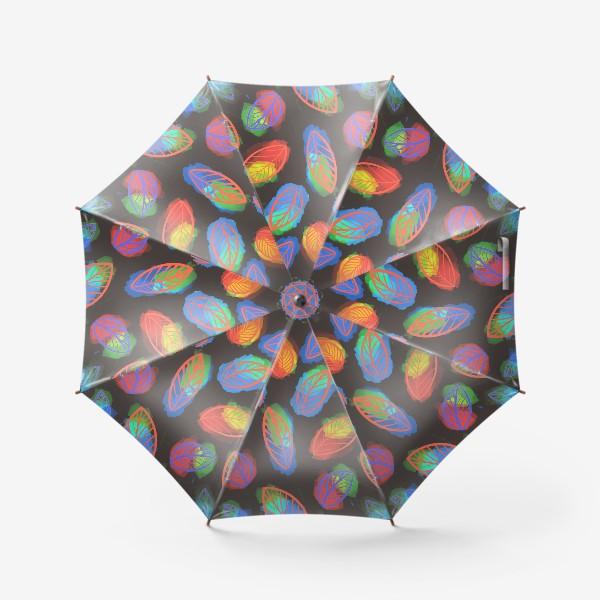 Зонт «Яркие цветастые листья на черном фоне. Летний, осенний узор »